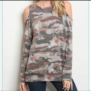 Tops - Boutique • Camo cold shoulder top